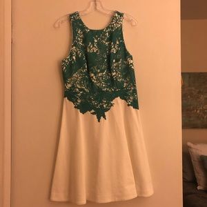 Anthropologie Ivory and Green Dress